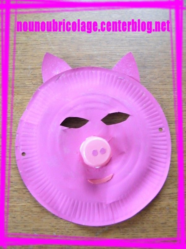 masque cochon assiette en carton. Black Bedroom Furniture Sets. Home Design Ideas
