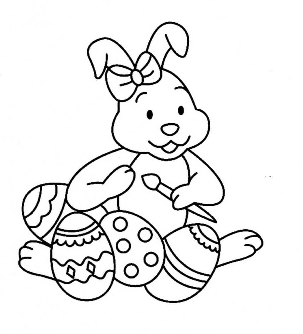 Coloriage lapin paques - Dessin de paques facile ...